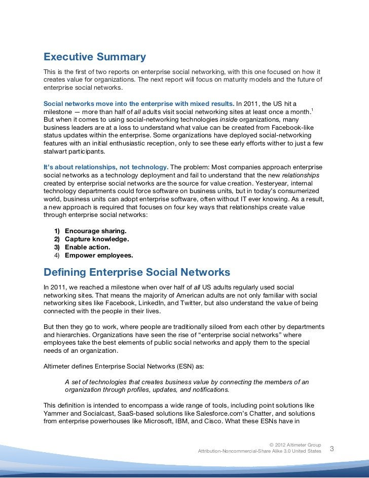 !Executive SummaryThis is the first of two reports on enterprise social networking, with this one focused on how itcreates...