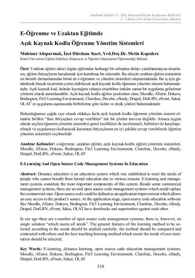 Akademik Bilişim'11 - XIII. Akademik Bilişim Konferansı Bildirileri 2 - 4 Şubat 2011 İnönü Üniversitesi, Malatya 319 E-Öğr...