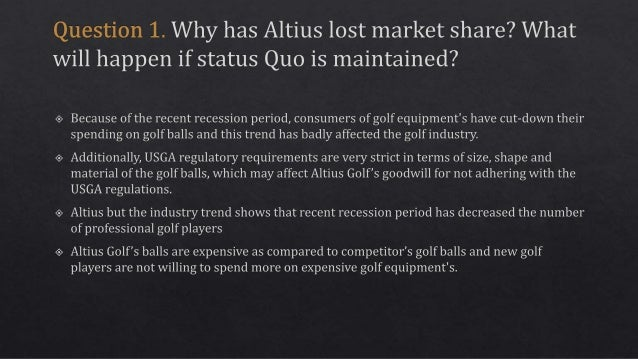 altius golf Case solution for altius golf and the fighter brand by robert j dolan, sunru yong abstract: altius golf is the clear leader in the golf ball market despite a long-term decline in the number of golfers and a drop in sales following the financial crisis.