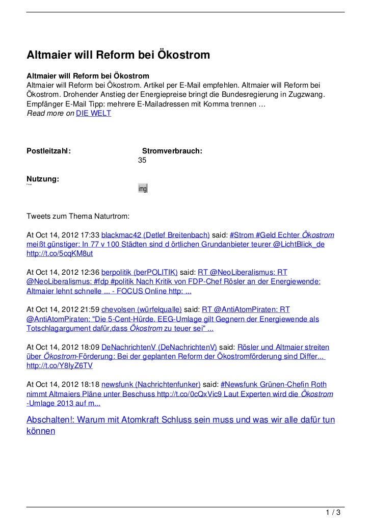 Altmaier will Reform bei ÖkostromAltmaier will Reform bei ÖkostromAltmaier will Reform bei Ökostrom. Artikel per E-Mail em...