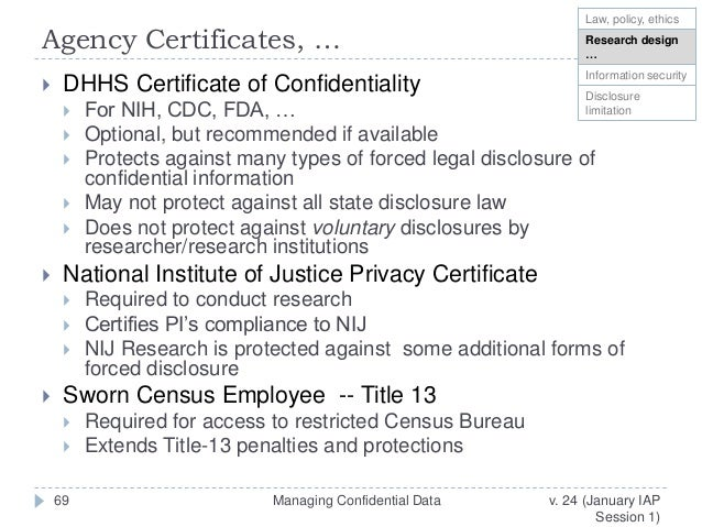 Managing confidential data for Census bureau title 13