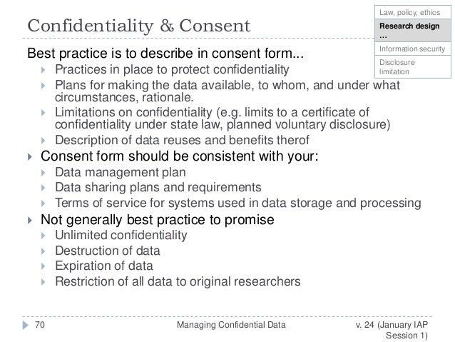 Managing Confidential Data