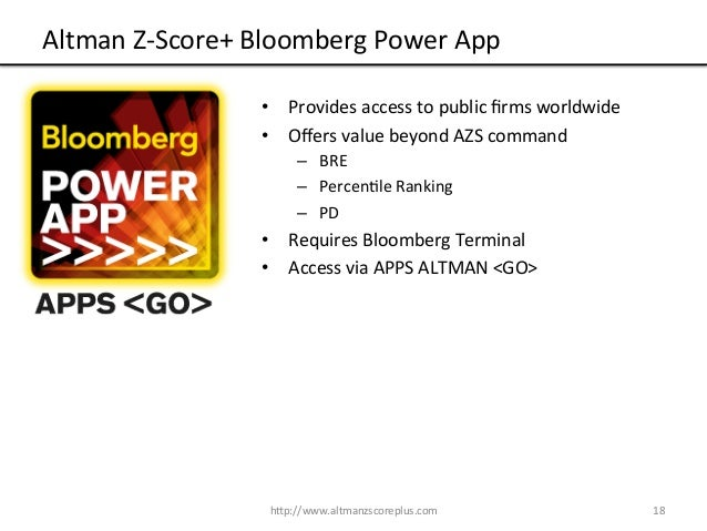 altman z Ed altman is simply a legend everyone in finance is familiar with the altman z- score and many analysts use it religiously–despite the fact there.