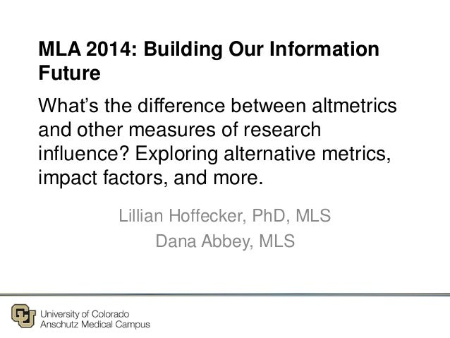 What's the difference between altmetrics and other measures of research influence? Exploring alternative metrics, impact f...