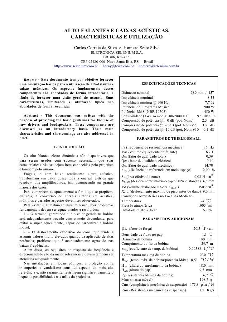 ALTO-FALANTES E CAIXAS ACÚSTICAS,                              CARACTERÍSTICAS E UTILIZAÇÃO                               ...