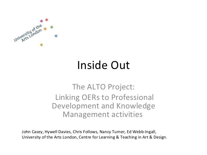 Inside Out The ALTO Project: Linking OERs to Professional Development and Knowledge Management activities   John Casey, Hy...