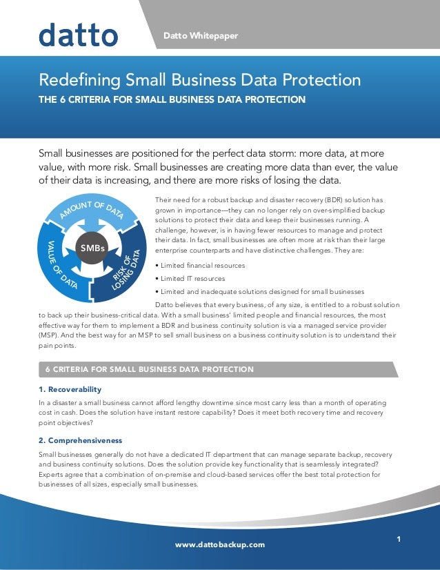 www.dattobackup.comDatto Whitepaper1Their need for a robust backup and disaster recovery (BDR) solution hasgrown in import...