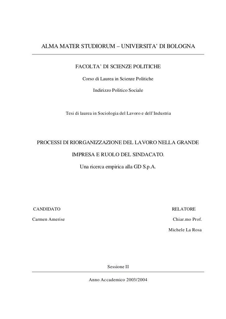 ALMA MATER STUDIORUM – UNIVERSITA' DI BOLOGNA                      FACOLTA' DI SCIENZE POLITICHE                         C...
