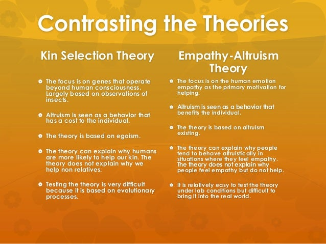 altruism and kin selection Important than it was initially [3,5,6] eo wilson takes this to mean that kin selection theory is similarly limited [2] however, the haplodiploidy hypothesis is just one.