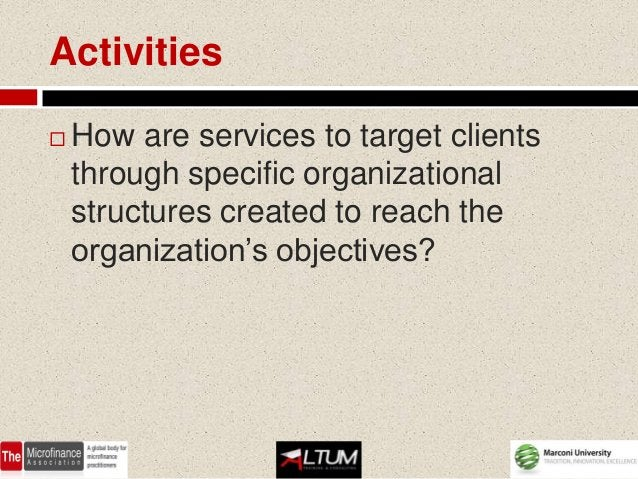 Activities   How are services to target clients    through specific organizational    structures created to reach the    ...