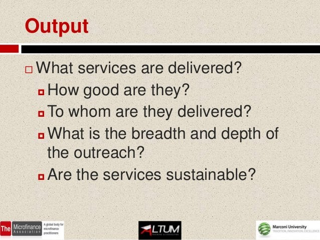 Output   What services are delivered?     How good are they?     To whom are they delivered?     What is the breadth a...