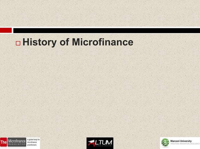    History of Microfinance