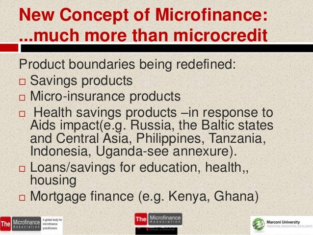 New Concept of Microfinance:...much more than microcreditProduct boundaries being redefined: Savings products Micro-insu...