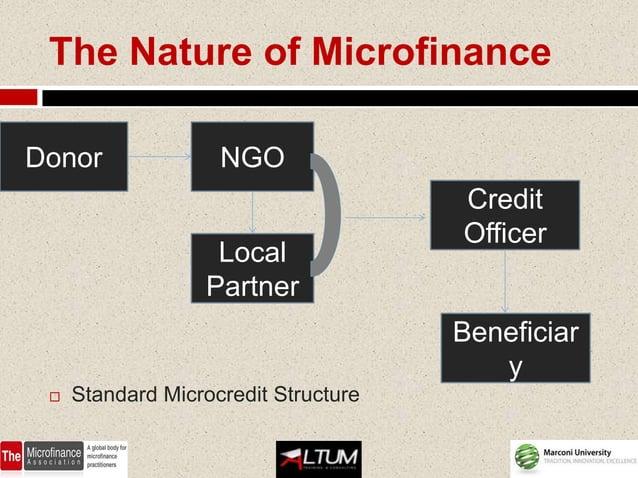 The Nature of MicrofinanceDonor               NGO                                      Credit                             ...