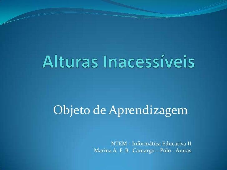 Alturas Inacessíveis<br />Objeto de Aprendizagem<br />NTEM - Informática Educativa II<br />Marina A. F. B.  Camargo – Pólo...