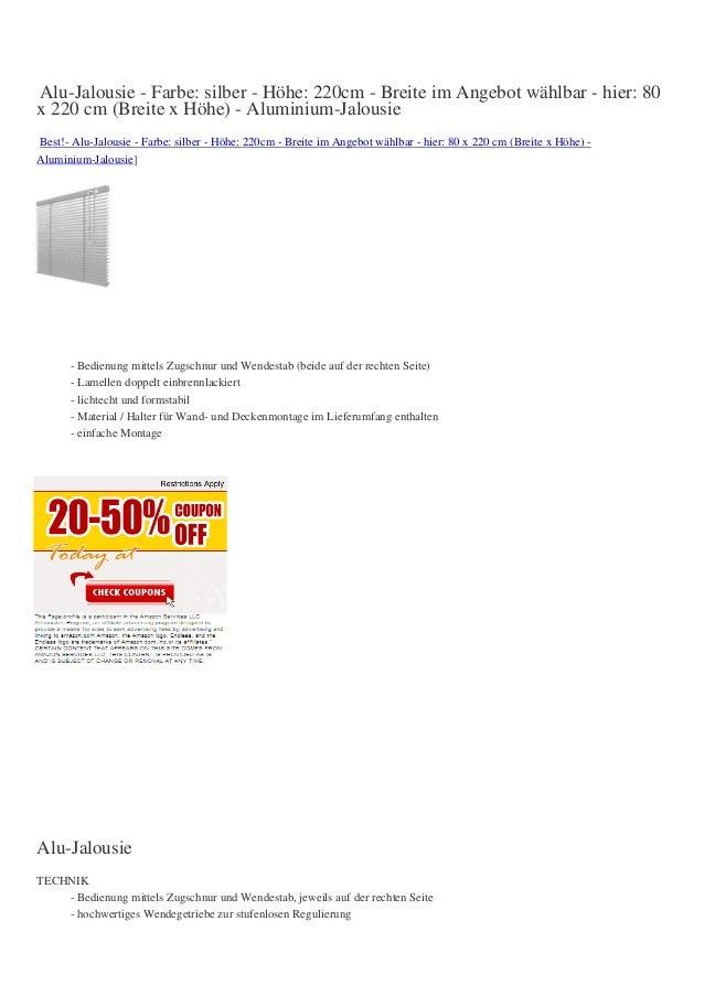 Alu-Jalousie - Farbe: silber - Höhe: 220cm - Breite im Angebot wählbar - hier: 80x 220 cm (Breite x Höhe) - Aluminium-Jalo...