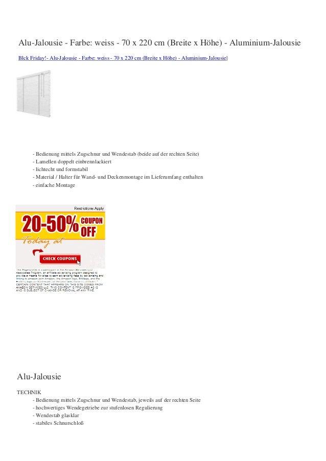 Alu-Jalousie - Farbe: weiss - 70 x 220 cm (Breite x Höhe) - Aluminium-JalousieBlck Friday!- Alu-Jalousie - Farbe: weiss - ...