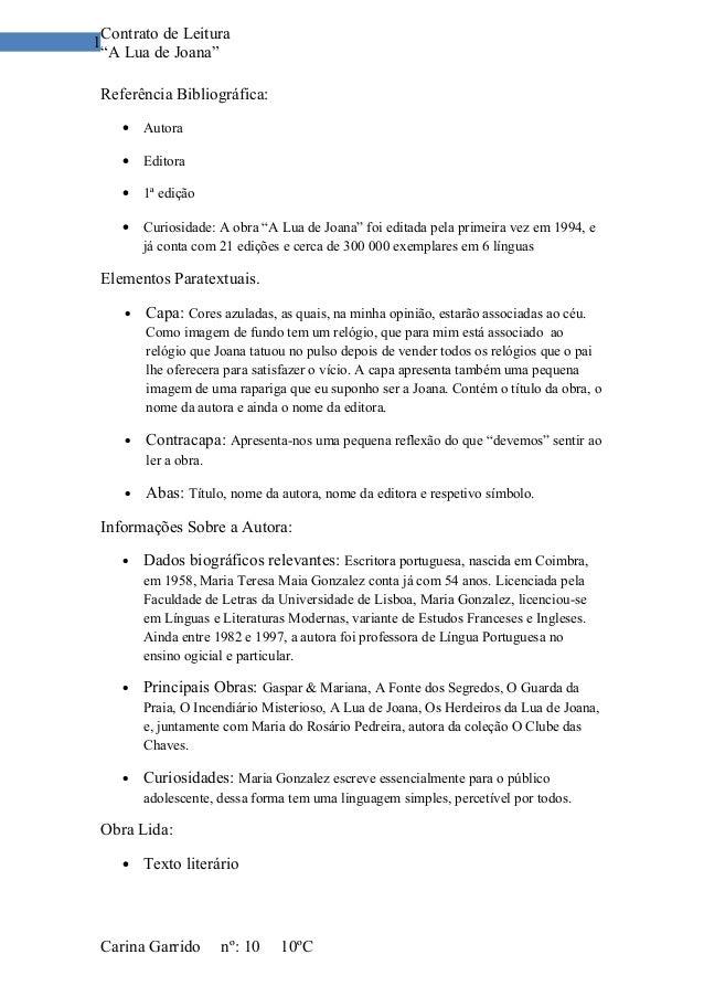 """Contrato de Leitura1 """"A Lua de Joana"""" Referência Bibliográfica:    •   Autora    •   Editora    •   1ª edição    •   Curio..."""