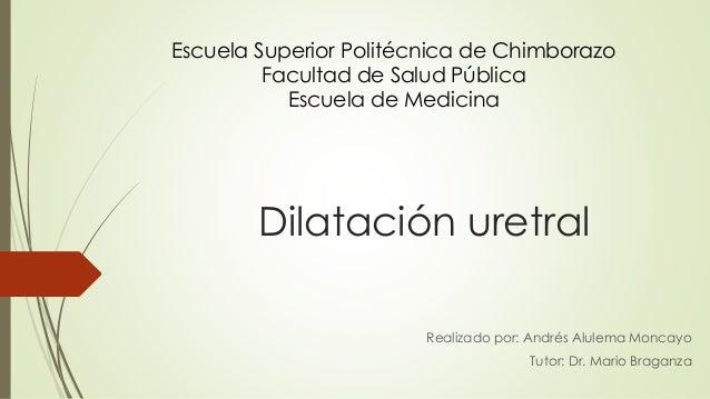 Dilatación uretral Realizado por: Andrés Alulema Moncayo Tutor: Dr. Mario Braganza Escuela Superior Politécnica de Chimbor...