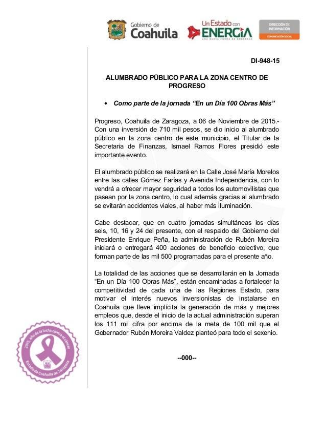 """DI-948-15 ALUMBRADO PÚBLICO PARA LA ZONA CENTRO DE PROGRESO • Como parte de la jornada """"En un Día 100 Obras Más"""" Progreso,..."""