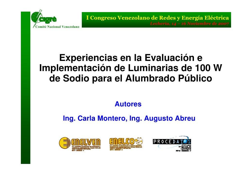 I Congreso Venezolano de Redes y Energía Eléctrica                                                   Lechería, 14 – 16 Nov...