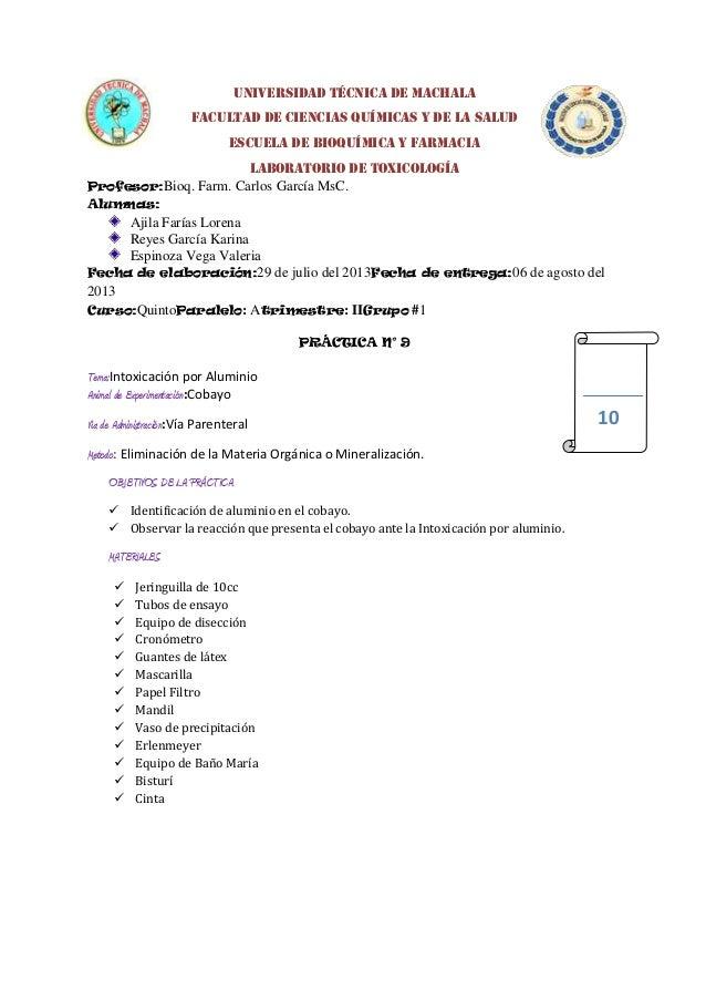 UNIVERSIDAD TÉCNICA DE MACHALA FACULTAD DE CIENCIAS QUÍMICAS Y DE LA SALUD escuela DE BIOQUÍMICA Y FARMACIA LABORATORIO DE...