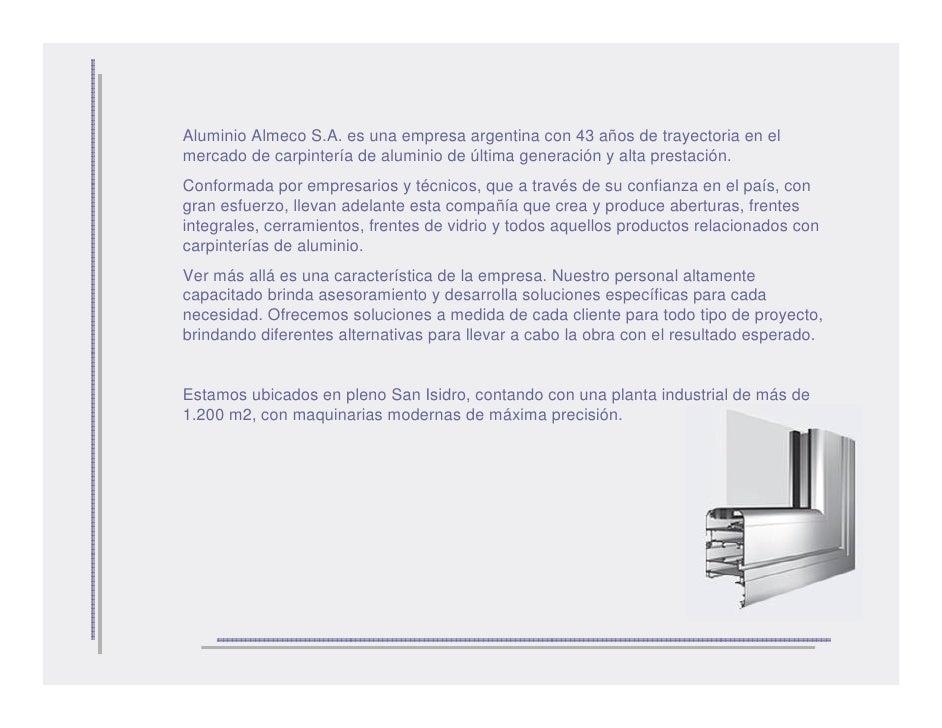 Aluminio almeco presentaci n for Carpinterias de aluminio en argentina