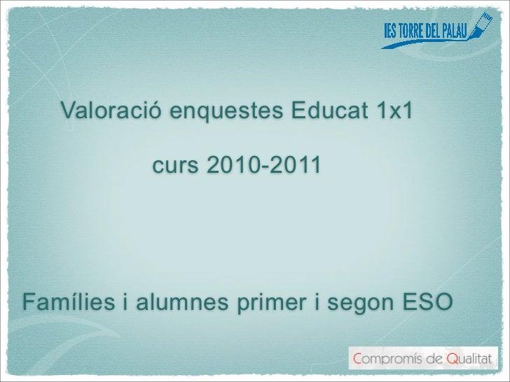 Valoració enquestes Educat 1x1           curs 2010-2011Famílies i alumnes primer i segon ESO