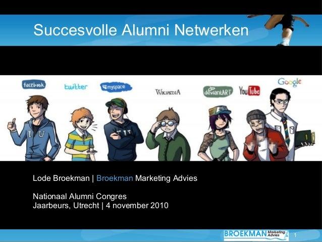 1 Succesvolle Alumni Netwerken Lode Broekman | Broekman Marketing Advies Nationaal Alumni Congres Jaarbeurs, Utrecht | 4 n...