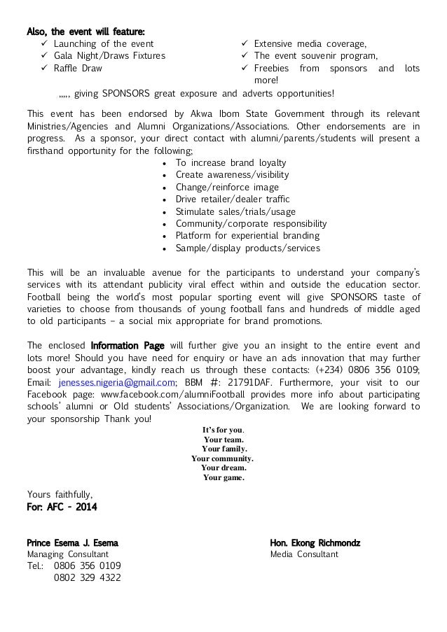 Corporate Sponsorship Letter. Sponsorship Proposal Cover Letter
