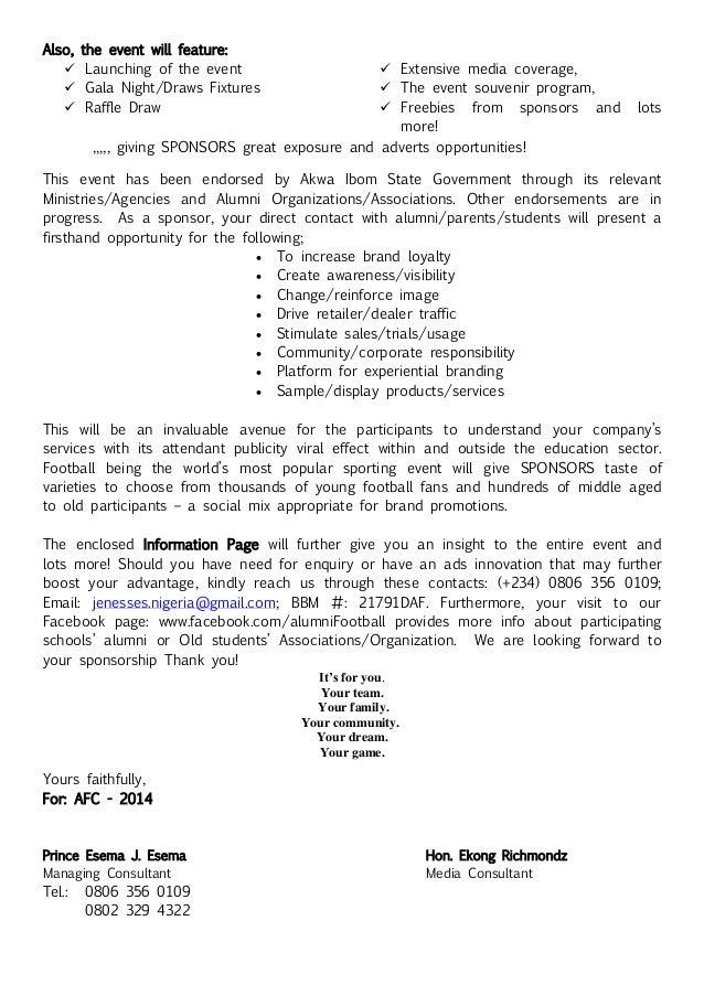 Sports Sponsorship Letter  Proposal Letter For Sponsorship Sample For Event