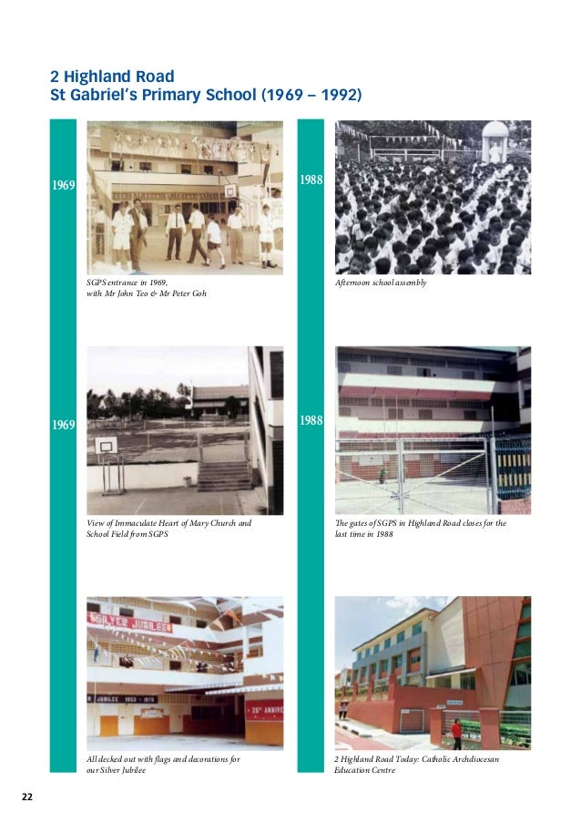 2 Highland Road St Gabriel's Primary School (1969 – 1992)  1988  1969  SGPS entrance in 1969,  with Mr John Teo & Mr P...