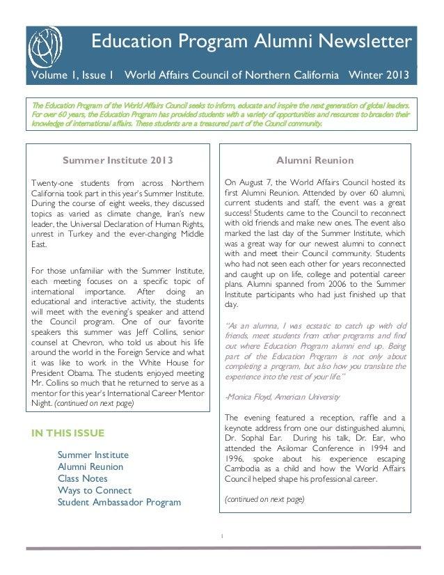 K  Education Program Alumni Newsletter Volume 1, Issue 1 World Affairs Council of Northern California Winter 2013 The Educ...