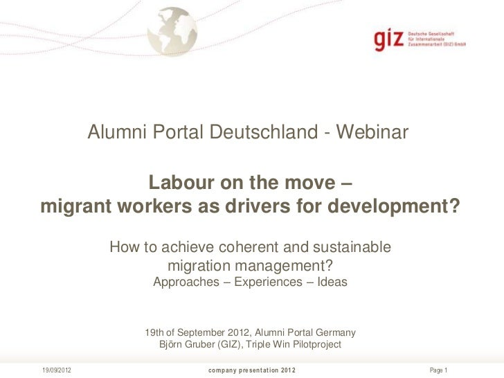 Alumni Portal Deutschland - Webinar           Labour on the move –migrant workers as drivers for development?             ...