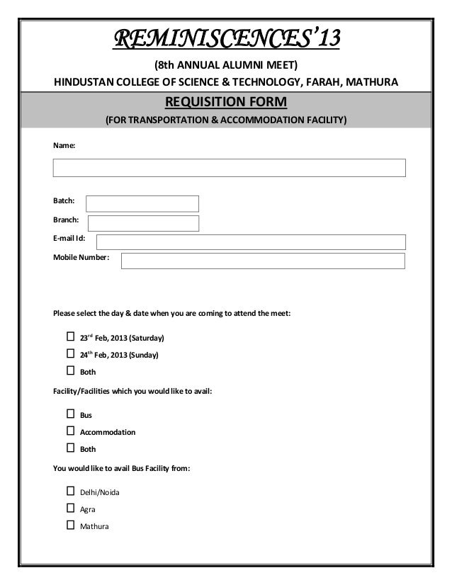 Alumni Requisition Form
