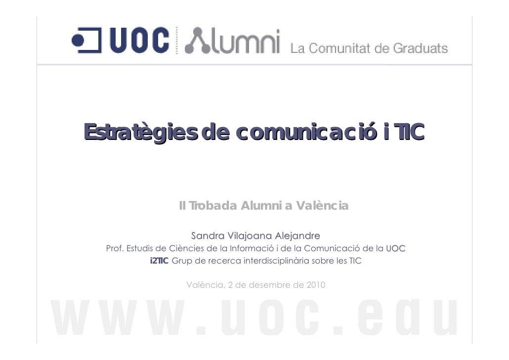 Estratègies de comunicació i TIC                   II Trobada Alumni a València                      Sandra Vilajoana Alej...