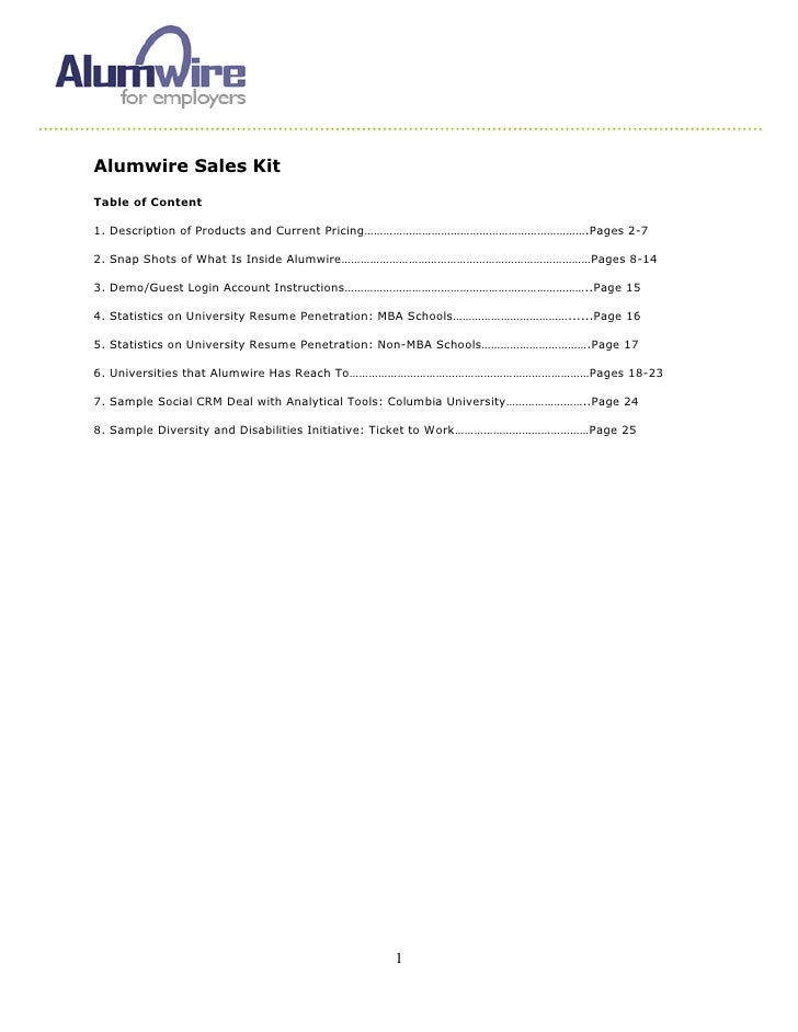 Alumwire Sales Kit Table of Content  1. Description of Products and Current Pricing…………………………………………………………….Pages 2-7  2. S...