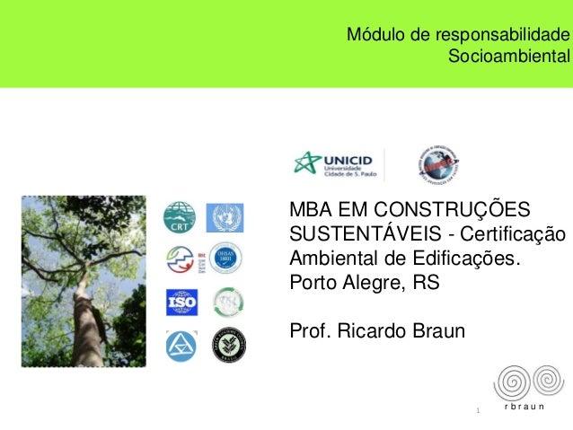 1 MBA EM CONSTRUÇÕES SUSTENTÁVEIS - Certificação Ambiental de Edificações. Porto Alegre, RS Prof. Ricardo Braun r b r a u ...