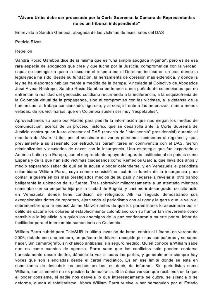 """""""Álvaro Uribe debe ser procesado por la Corte Suprema: la Cámara de Representantes                           no es un trib..."""