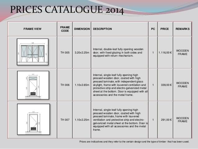 ALVEK FRAMES PRICES CATALOGUE 2014
