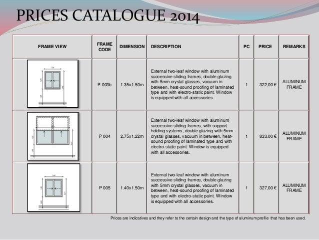 Aluminium Windows Catalogue : Alvek frames prices catalogue