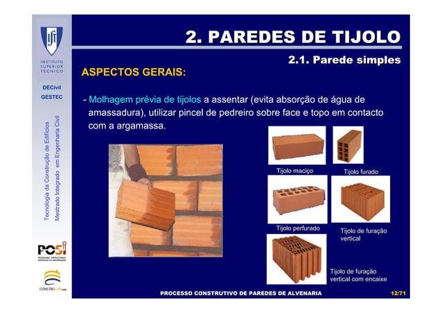 DECivil GESTEC 1212//7171 TecnologiadaConstruçãodeEdifícios MestradoIntegradoemEngenhariaCivil - Molhagem prévia de tijolo...