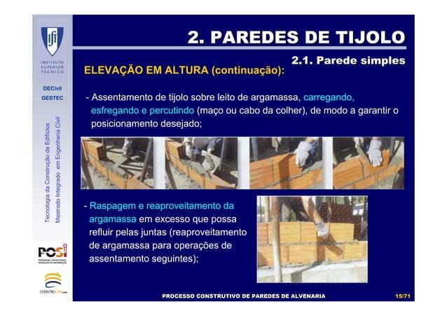 DECivil GESTEC 1515//7171 TecnologiadaConstruçãodeEdifícios MestradoIntegradoemEngenhariaCivil - Assentamento de tijolo so...