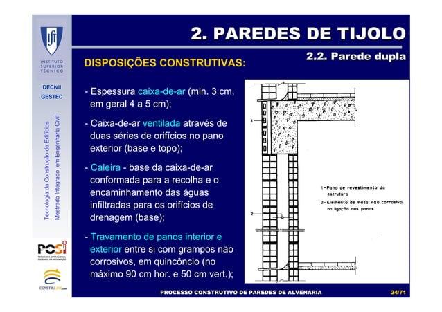 DECivil GESTEC 2424//7171 TecnologiadaConstruçãodeEdifícios MestradoIntegradoemEngenhariaCivil DISPOSIÇÕES CONSTRUTIVAS: 2...