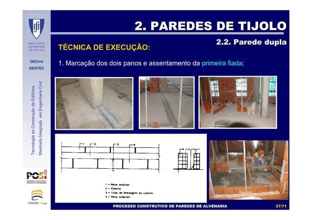 DECivil GESTEC 2727//7171 TecnologiadaConstruçãodeEdifícios MestradoIntegradoemEngenhariaCivil 1. Marcação dos dois panos ...