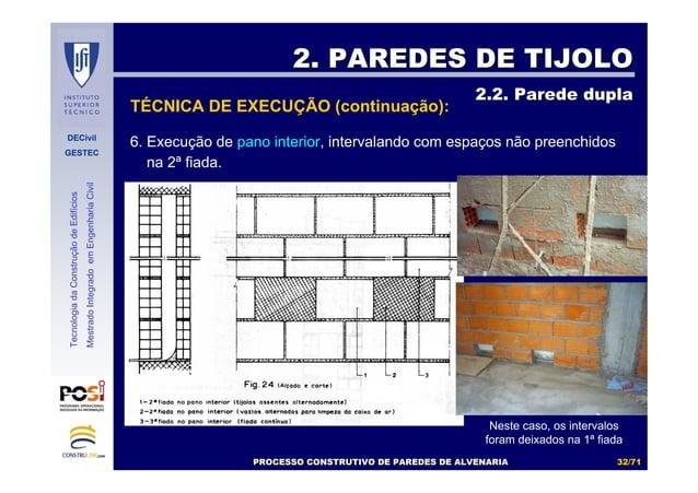 DECivil GESTEC 3232//7171 TecnologiadaConstruçãodeEdifícios MestradoIntegradoemEngenhariaCivil 6. Execução de pano interio...