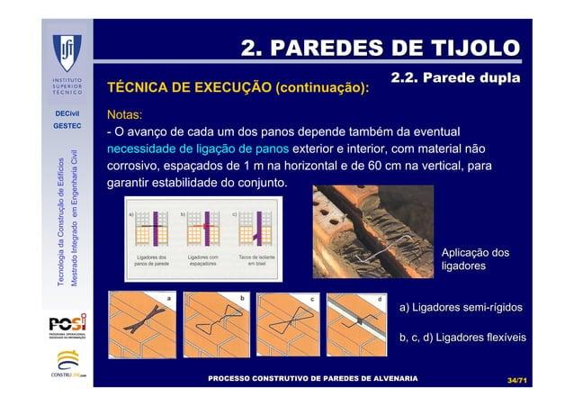 DECivil GESTEC 3434//7171 TecnologiadaConstruçãodeEdifícios MestradoIntegradoemEngenhariaCivil Notas: - O avanço de cada u...