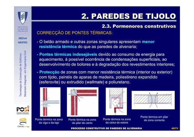 DECivil GESTEC 4545//7171 TecnologiadaConstruçãodeEdifícios MestradoIntegradoemEngenhariaCivil CORRECÇÃO DE PONTES TÉRMICA...