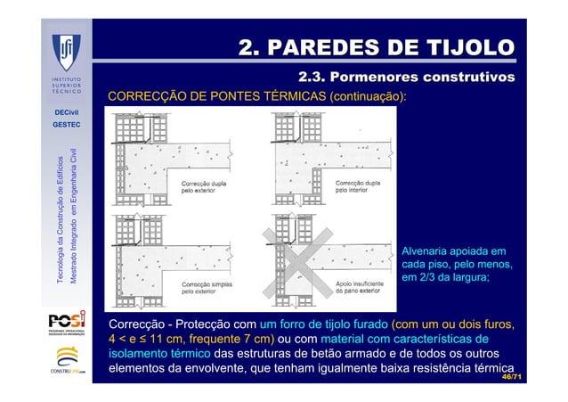 DECivil GESTEC 4646//7171 TecnologiadaConstruçãodeEdifícios MestradoIntegradoemEngenhariaCivil CORRECÇÃO DE PONTES TÉRMICA...