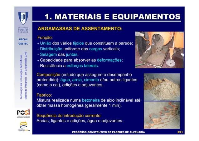 DECivil GESTEC 55//7171 TecnologiadaConstruçãodeEdifícios MestradoIntegradoemEngenhariaCivil ARGAMASSAS DE ASSENTAMENTO: F...